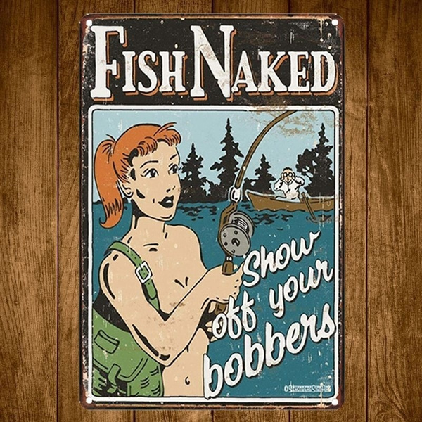 Metal Tin Sign fish naked Decor Bar Pub Home Vintage Retro Poster