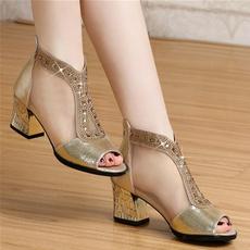 Sandals, roughheel, Womens Shoes, fish