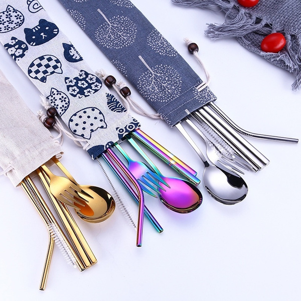 Forks, silverwarset, portable, rainbow