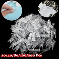 20x Mini Clear Plastic Doll Clothespin Photo Paper Peg Clips Laundry Hangers RU