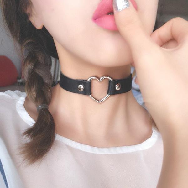 Necklace, puleatherchockerbondage, neckbandclavicleaccessorie, vintagecharmroundcollarnecklace