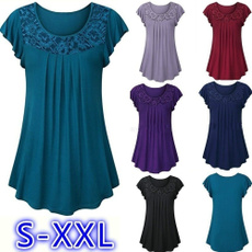 Summer, women lace top, Plus Size, lotussleeve