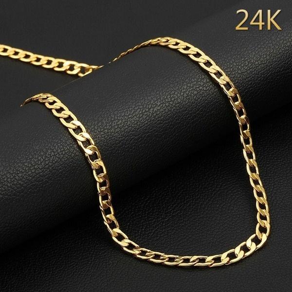 cubanchainnecklace, 24kgold, Chain Necklace, Fashion