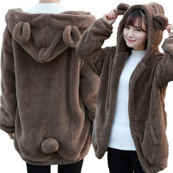 cute, hooded, plushjacket, winter coat