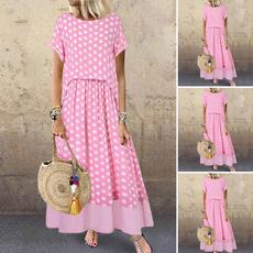 Summer, Plus Size, pleated dress, long dress
