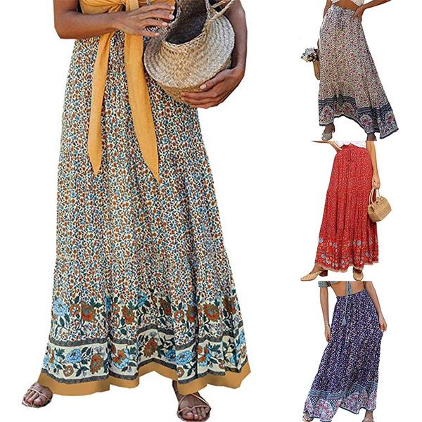 Summer, long skirt, summer skirt, Floral print
