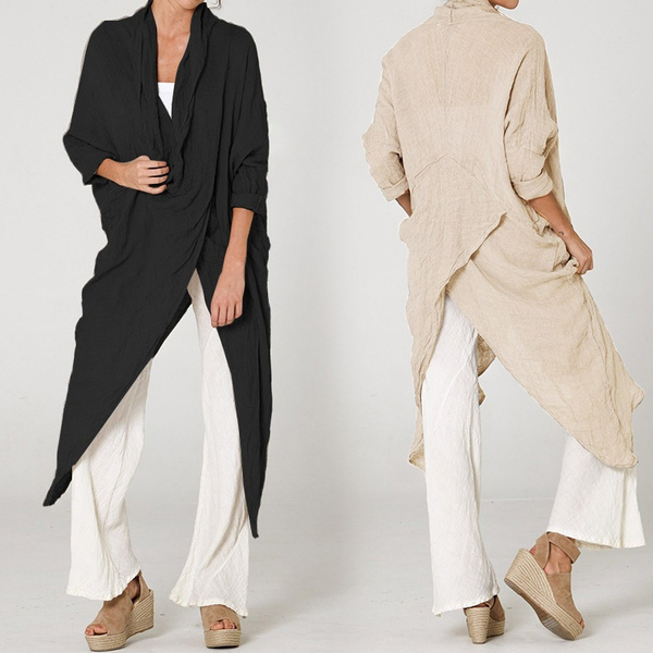 Plus Size, cottonlinen, Long Sleeve, asymmetricaltop