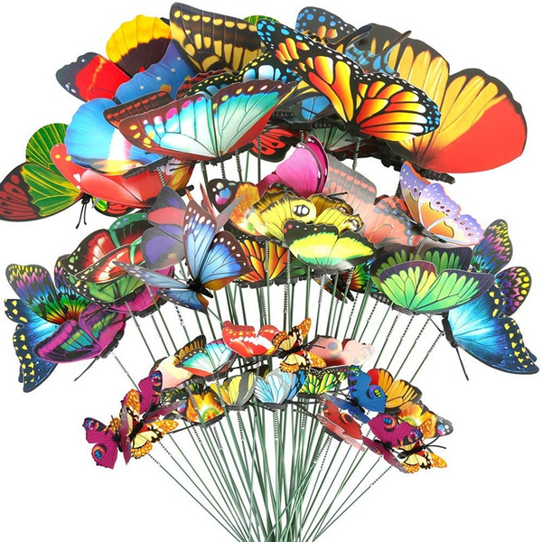 40 Pcs Butterfly Stakes 5 Different Size Waterproof Butterflies Stakes Garden Ornaments Patio Decor Butterfly Party Supplies Yard Stakes Decorative For Outdoor Christmas Decorations Wish