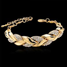 goldplated, DIAMOND, leaf, Jewelry
