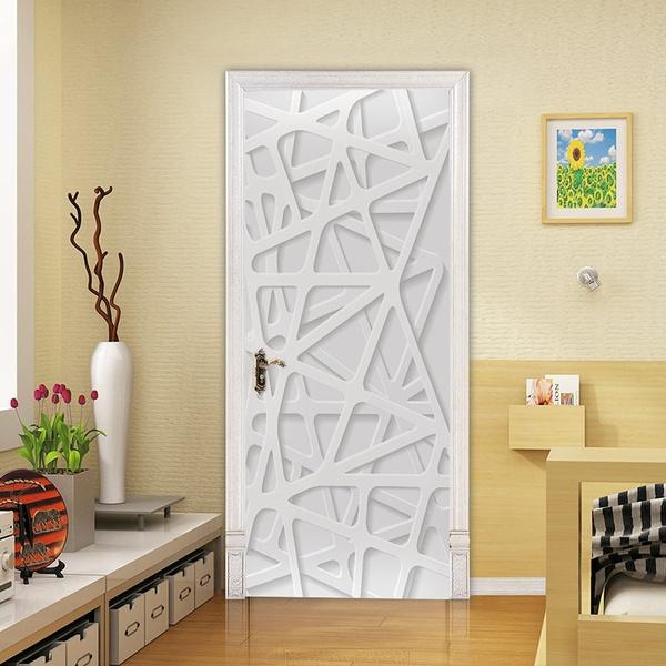 2pcs Set 3d Door Stickers Diy Art For Door Self Adhesive Wallpaper Murals Vinyl Removable Modern Art Door Decals Home Decoration Wish