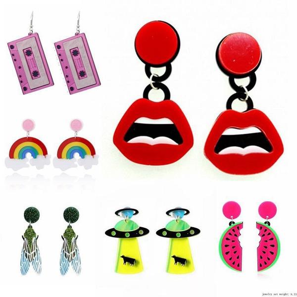 rainbow, Fashion, Jewelry, watermelonearring