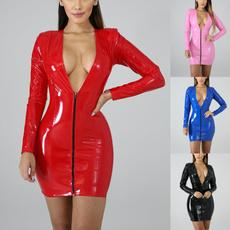 leather dress, latexdres, Long Sleeve, Vestidos