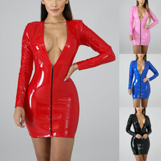 leather dress, latexdres, Long Sleeve, Dress