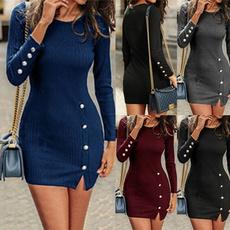 neck dress, Long Sleeve, Dress, slim