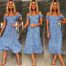 Blues, slim dress, Fashion, Floral print