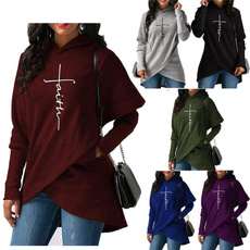 Pocket, Plus Size, pullover hoodie, letter print