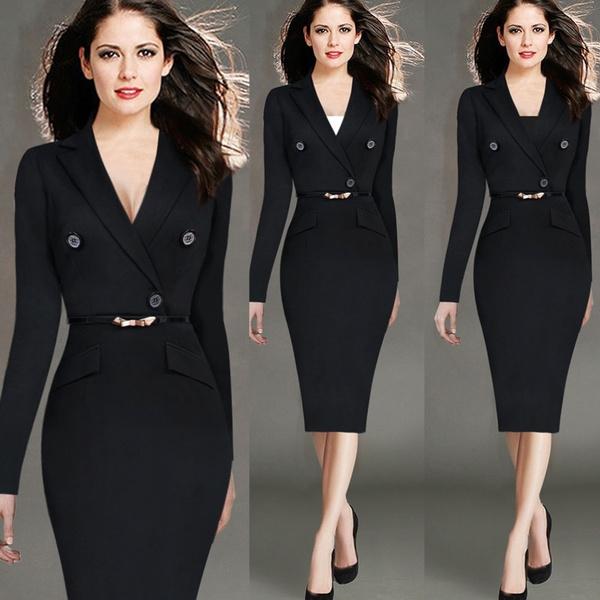 pencil, Sleeve, Office, women dresses