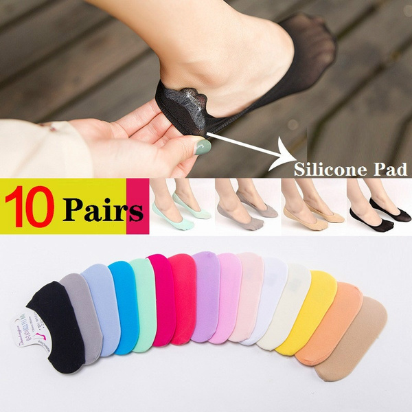10 Pairs Lady Women Invisible Boat Socks Footsies Shoe Liner Trainer Ballerina