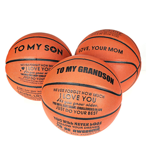 To My Grandson Love you Son Basketball Ball Engraved Gift Birthday Anniversary