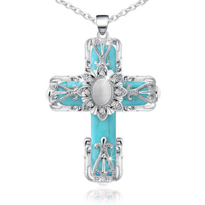 Turquoise, Cross necklace, Cross Pendant, religiousjewelry