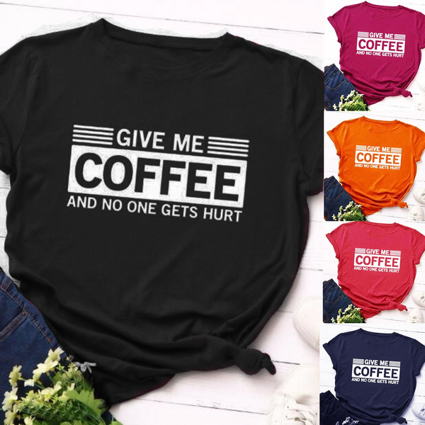 Coffee, Plus Size, letter print, short sleeves