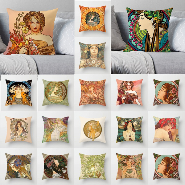 mucha, Home Decor, Pillowcases, Pillow Covers