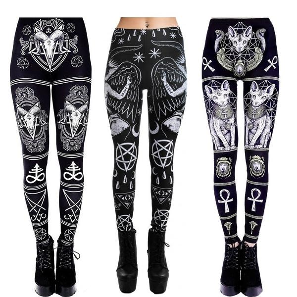 Goth, Plus Size, skinny pants, print leggings
