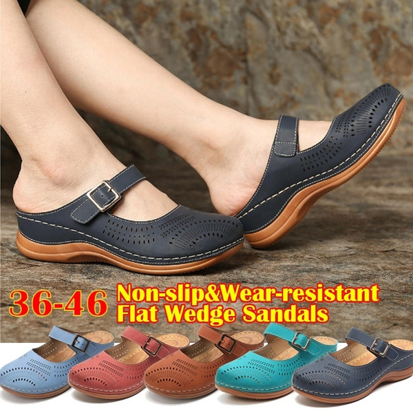 Wear-resistant Non-slip High-quality Leather Wedge Sandals  Comfortable&Breathable Sandals Women's Casual Shoes Women's Beach Shoes  Women's Slipper | Wish