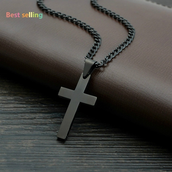 Steel, blackcro, crossnecklaceman, Cross necklace