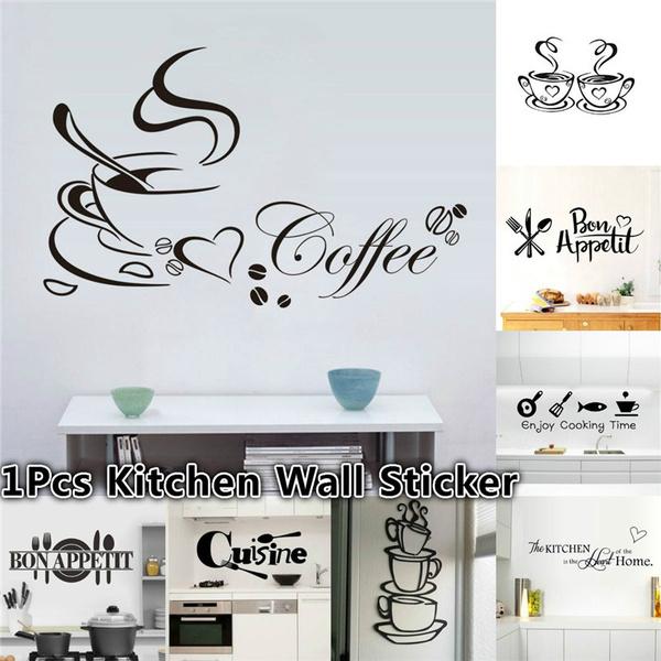 New Style Kitchen Wall Sticker Cuisine Coffee Vinyl Stickers House Decoration Accessories Mural Decor Wallpaper Wall Stickers Wall Art Murals Wish