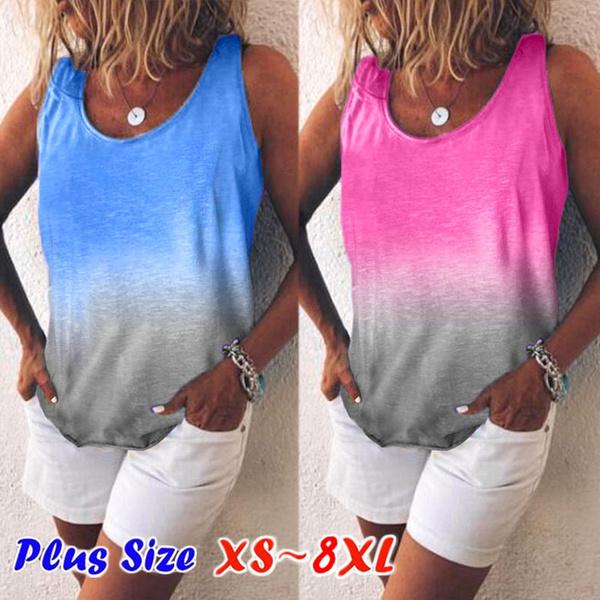 blouse, Vest, Plus Size, Printed Tee