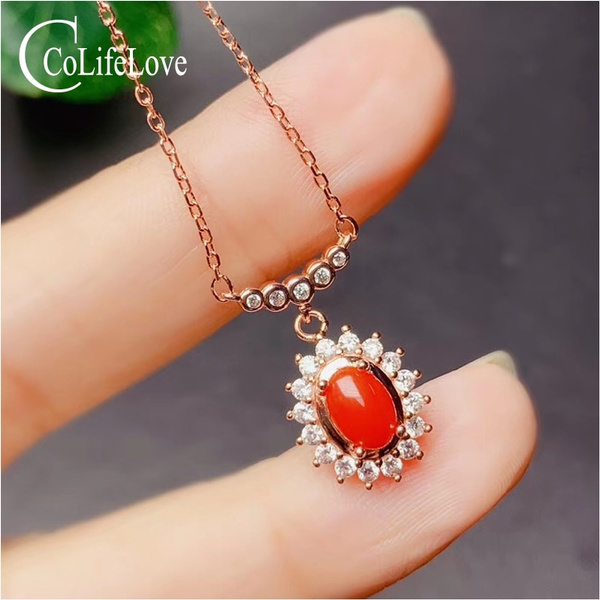 redcoral, Jewelry, Coral, silvercoralpendant
