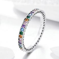 rainbow, Fashion, zirconring, 925 silver rings