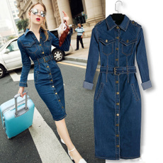 Fashion, Office, denim overalls women, Long Sleeve