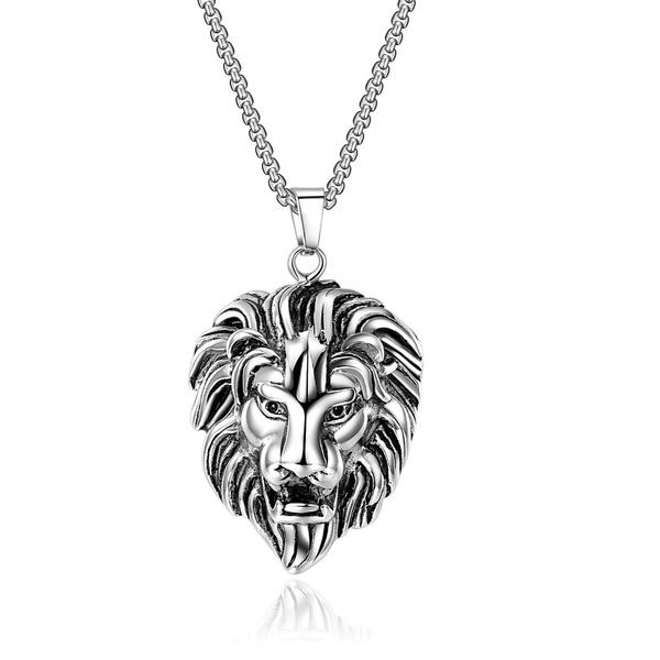 Steel, Head, Men  Necklace, punk necklace