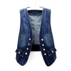 denimcardigan, Vest, Fashion, sleevelessjacket