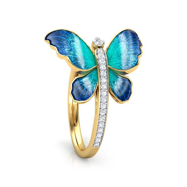 butterfly, Blues, Fashion, wedding ring
