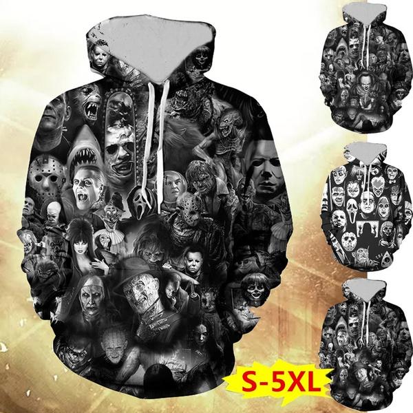 Plus Size, pullover hoodie, skullprint, Long Sleeve