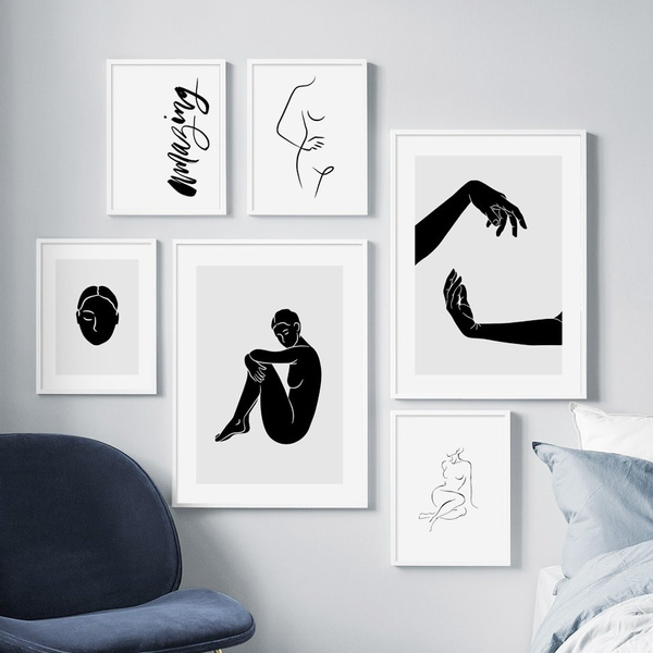 Sexy Woman Abstract Line Body Art Simple Wall Art Canvas Painting Nordic Posters And Prints Wall Pictures For Living Room Decor No Frame Wish
