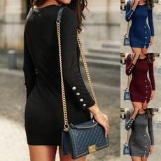 Mini, Plus Size, Long Sleeve, Dress