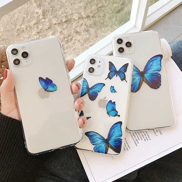 Cute Blue Butterfly Phone Case for iPhone 11 Pro Max Cases Clear TPU Soft for iPhone XR XS MAX X 7 8 Plus Fundas Coque Cover | Wish
