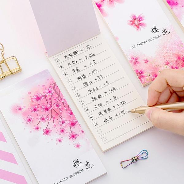 notebookswritingpad, stickynote, Home Decor, cherryblossom