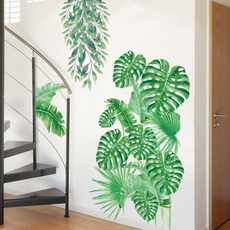 PVC wall stickers, leaves, tropicalplant, Natural
