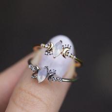 Sterling, moonstonering, wedding ring, Silver Ring