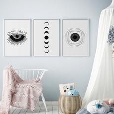 Bathroom, Wall Art, Black And White, canvaspainting
