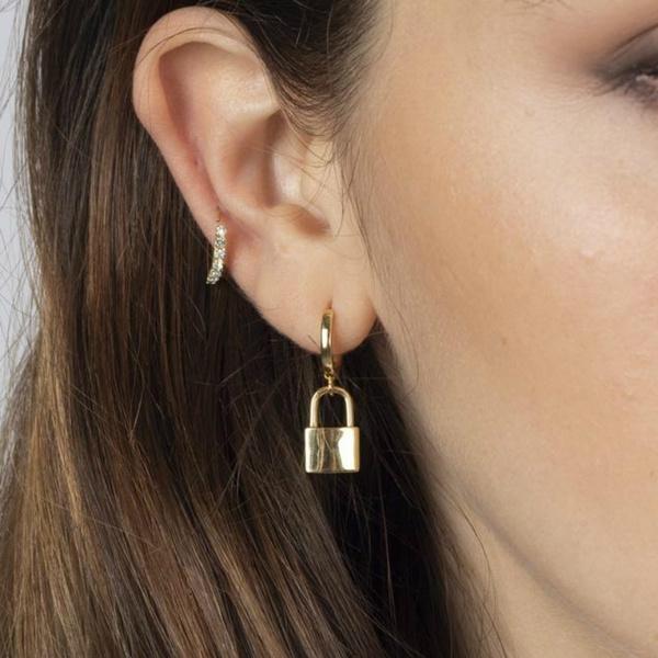 lockearring, stainless steel earrings, Jewelry, gold