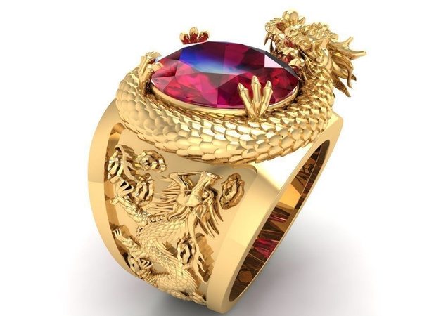 18 k, ringsformen, DIAMOND, dragonring
