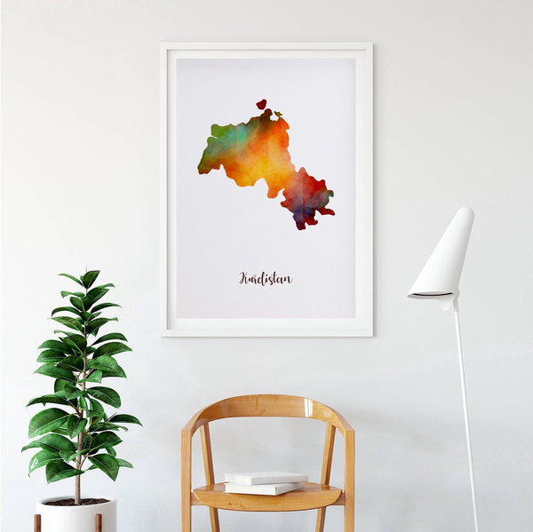 Kurdistan map watercolor Map Modern City Canvas Art Print Wall No Frame