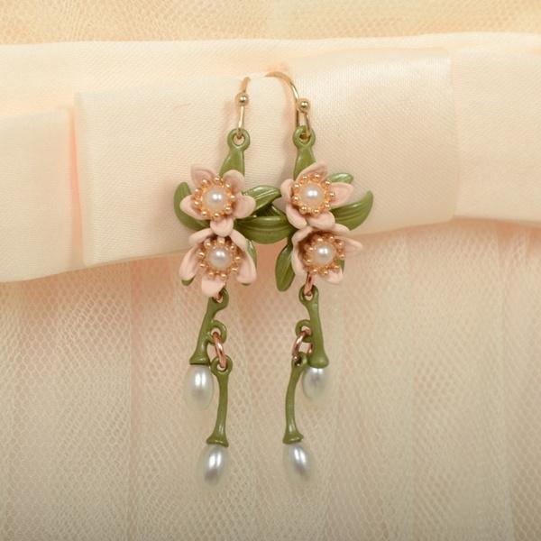 cute, flowersstudearring, Fashion, Pearl Earrings