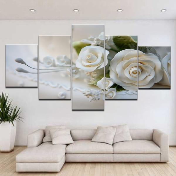 Wall Art Home Decor Poster White Rose Petals Art//Canvas Print